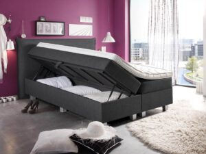 Boxspring bed opslag tweepersoons - antraciet - Plane Storage